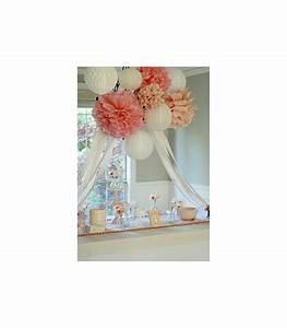 Papier De Soie Blanc : pompon deco salle papier de soie cr me couleur blanc ~ Farleysfitness.com Idées de Décoration