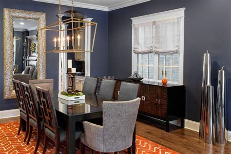transitional navy dining room  delicate gold