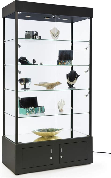 display with lights black display tower w led lighting cabinet w storage