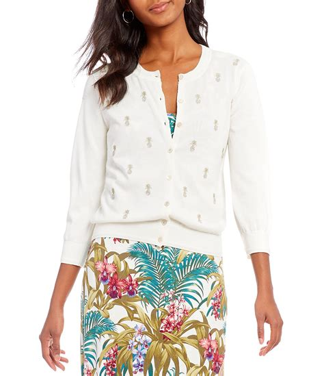 tommy bahama white pineapple l tommy bahama le petite pineapple cardigan dillards
