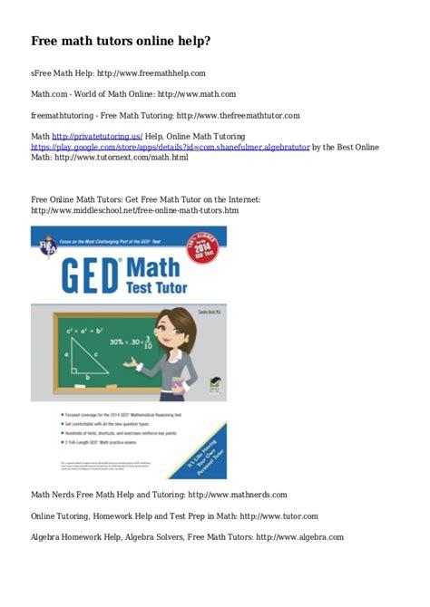 Free Math Tutors Online Help?