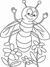 Bee Coloring Honey Pages Flowers Three Found Happy sketch template
