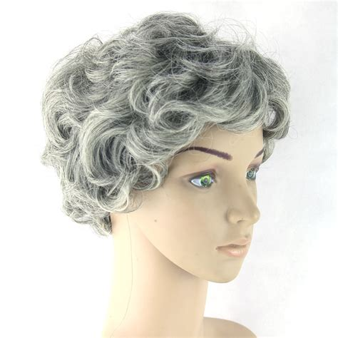 Gray Hair Short Women Wig Black Mix White Synthetic Hair