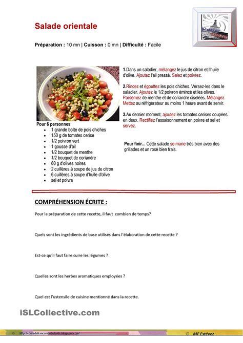 recette de cuisine une recette de cuisine