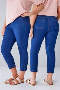 Blaue Jeans Capri Jeggings Mit Stern Detail, in großen ...
