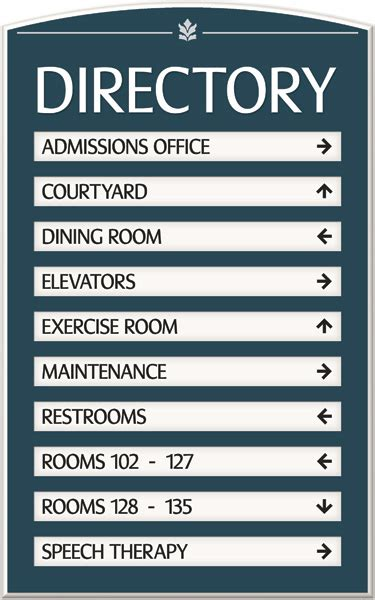 Custom Directory Signs & Room Directory Signs - Hotel Signs