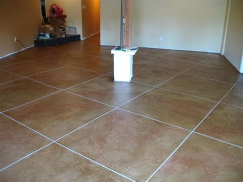 tile design flooring using soycrete concrete stain with