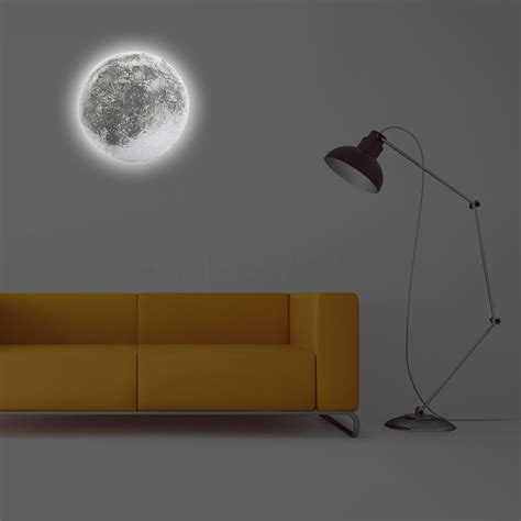novelty led healing moon wall light with remote controller