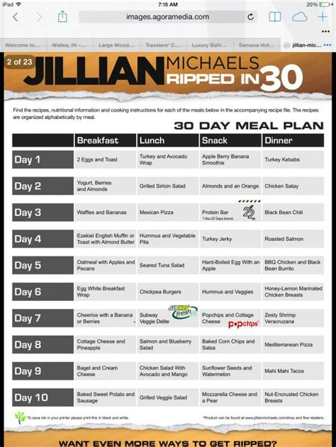 meal plan dietplan  images  day shred diet