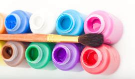 mini paint cans  brush stock images image