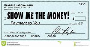 Show Me The Money Check Payday Earnings Wages Stock ...