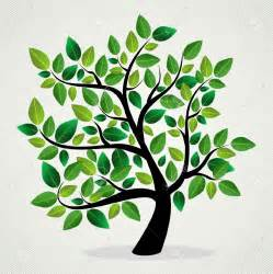 Family Tree with Green Leaves