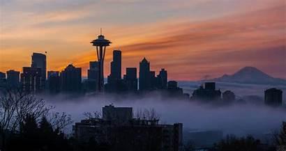 Seattle Skyline Sunrise Fog Loop Foggy Above