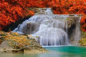 Waterfall, In, Autumn, 4k, Ultra, Hd, Wallpaper