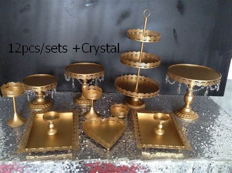 dhl set   pieces gold cake stand wedding cupcake stand