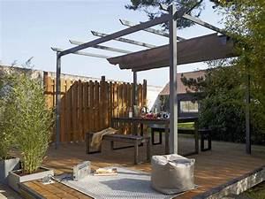 structure de tonnelle adossee provence acier marron fonce With comment monter une tonnelle de jardin
