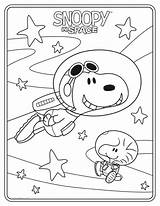 Coloring Peanuts Sheets Space Sheet Snoopy sketch template