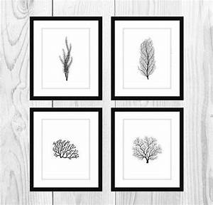 white and black coral printable bathroom artwork set of 4 With kitchen colors with white cabinets with free christmas wall art printables