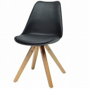Chaise Moderne Design : lot de 4 chaises en bois et en pu blanc ou noir moderne imatra ~ Teatrodelosmanantiales.com Idées de Décoration