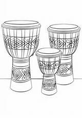 Djembe Colorare Bongos Trommeln Tamburo Supercoloring Drumset Lessons Tambour Muzyka Kolorowanka Drukuj sketch template