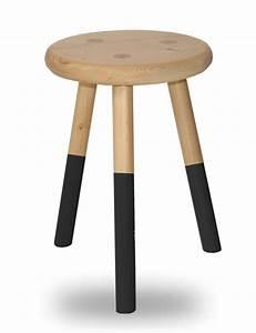 Rond En Bois : tabouret bois rond 3 pieds laque noire en sapin massif ~ Teatrodelosmanantiales.com Idées de Décoration