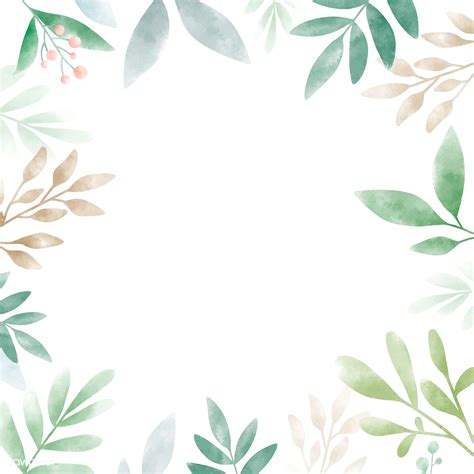 watercolor leaves  copy space design royalty