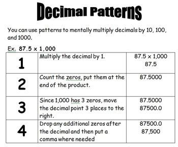 finding decimal patterns multiplying by 10 100 and 1 000 tpt