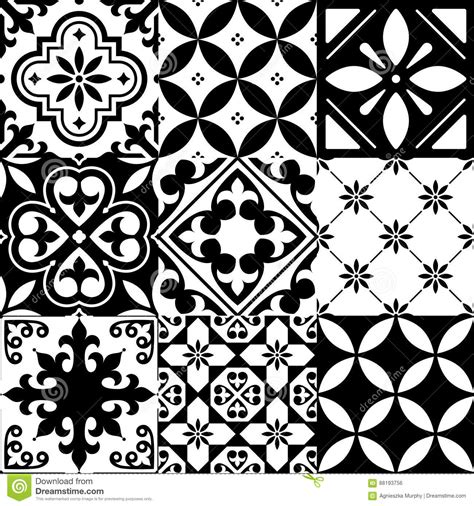 black white tile patterns geometric seamless pattern moroccan tiles design seamless black tile background cartoon vector