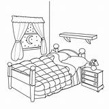 Coloring Bed sketch template