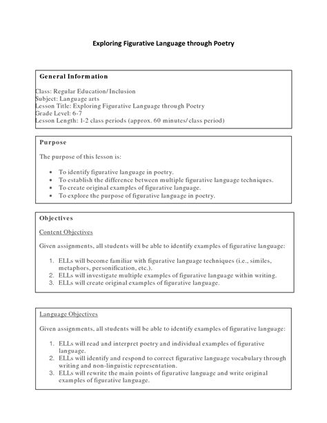 images  poetry terms  grade worksheets high