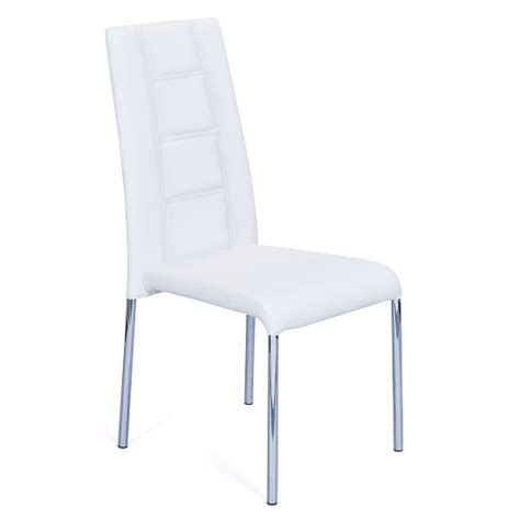 romania dining chair in grey faux leather with chrome legs 2