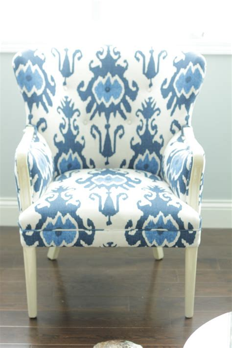 blue white ikat wingback chair in michigan