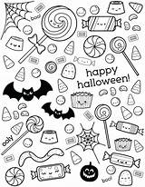 Coloring Candy Halloween Corn Happy Pages Sheets Printable Treat Trick Colouring Sheet Candies Sweet Pumpkin Designs Lollipop Chocolate Getcolorings Adult sketch template