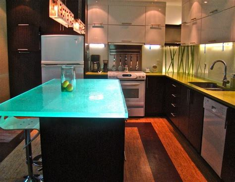 glowing countertop versatile countertop with inner glow thinkglass freshome com