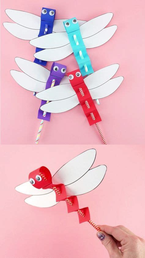 dragonfly craft template easy paper craft  kids