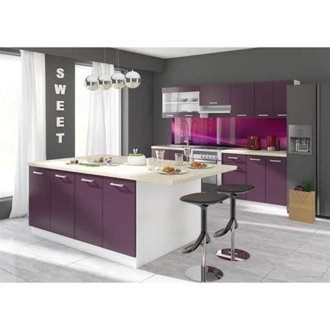 ilot cuisine en l ultra ilot de cuisine 2 m coloris aubergine achat