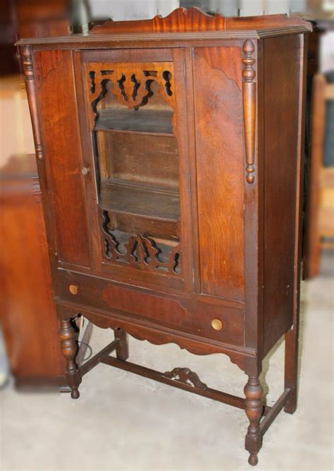 hutch vintage vintage jacobean style walnut china hutch ebay