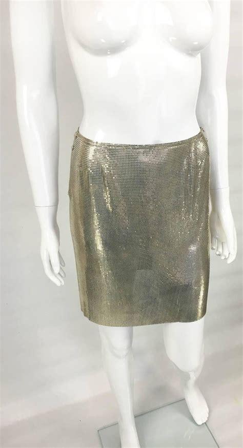 paco rabanne futuristic silver chainmail mini skirt
