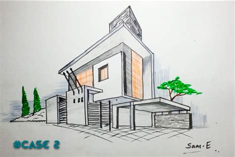 point perspective house case architectural freehand