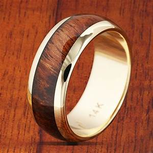 14K Yellow Gold Koa Wood Wedding Ring 7mm Band Width