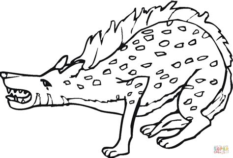 Spotted Hyena Growiling Coloring Page