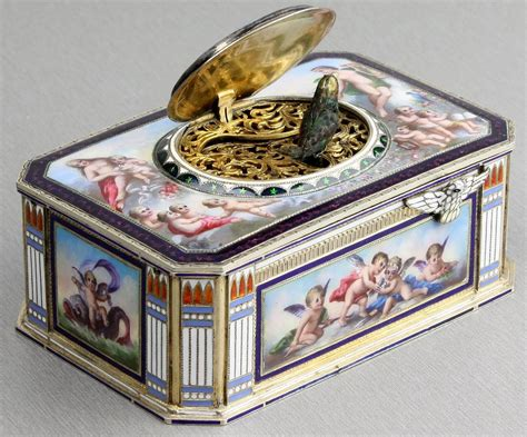 vintage silver and full pictorial enamel singing bird box