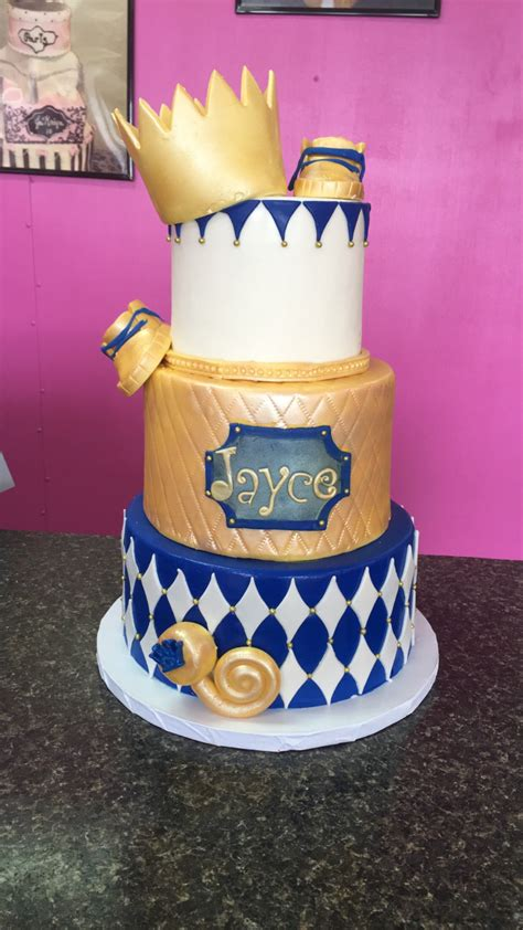 royal baby shower cake royal blue gold and white baby shower cake