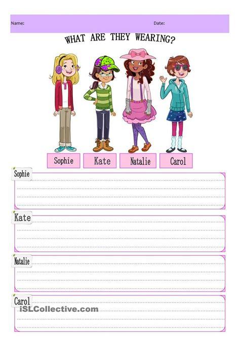 wearing kids writing adjectives  kids
