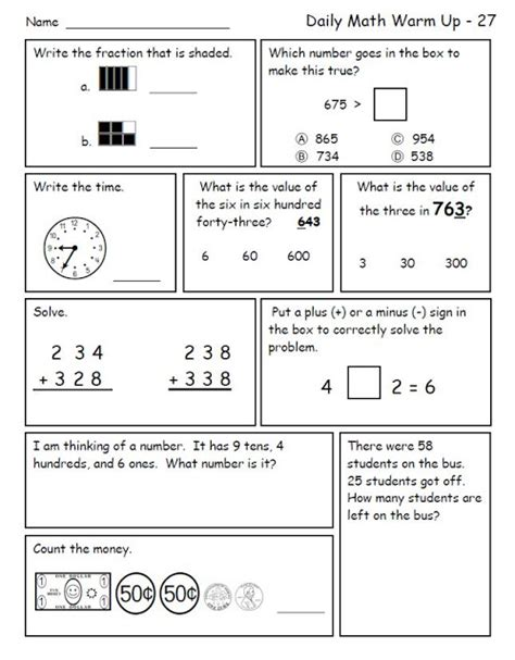 math warm ups for 2nd grade worksheets for all