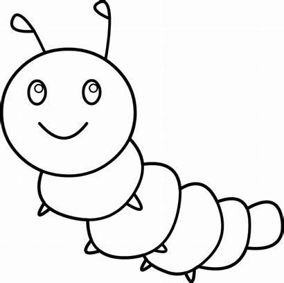 Caterpillar Coloring Clip Happy Line Clipart Middle