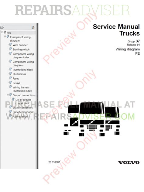 volvo trucks fe wiring diagrams service manuals pdf download