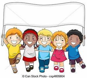 Dibujos de niños, bandera - A, Small, Group, de, Kids ...