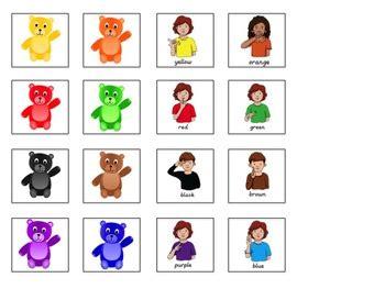 color sign language asl sentence starter adapted book colors tpt