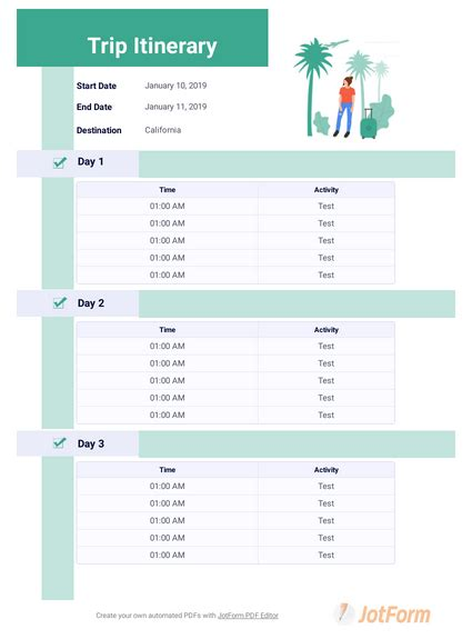 itinerary templates  templates jotform